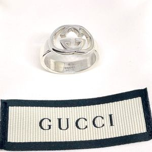 New Authentic Gucci GG Sterling Silver Ring Sz 11